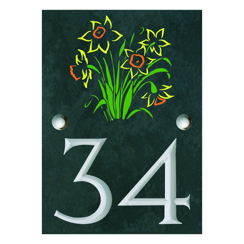 Engraved Slate House Number Sign with engraved Bunch of Daffodils 140mm x 100mm
